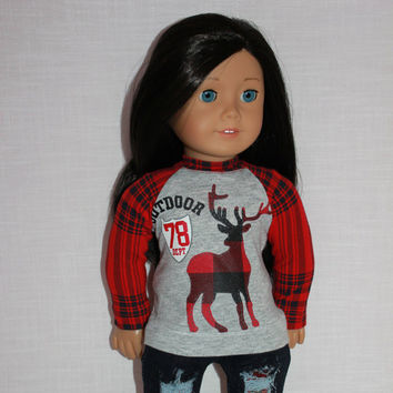 18 inch doll clothes, plaid deer print shirt,  Upbeat Petites