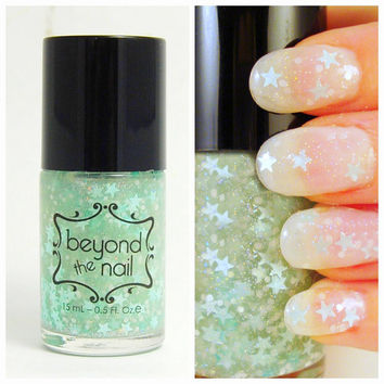 Minty Twilight Nail Polish - Mint Stars, White Glitter & Holographic