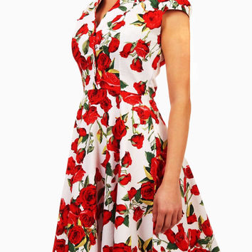 Summer dress, floral dress, vintage style dress, red and white dress, red rose dress, midi dress, mid-length dress, cotton dress, 50s dress