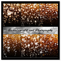 Gold and Black Glitter Backgrounds, Stars, Snowflakes, Bokeh Christmas Digital Backgrounds, Xmas Scrapbook