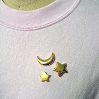 Celestial Lapel Pin Pack - Moon and Stars - Set of Three
