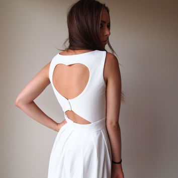 White Heart Back Cut Out Dress