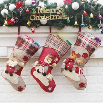Christmas Stocking Santa Claus Sock Gift Bag Kids Xmas Noel Decoration Candy Bag Christmas Tree Ornaments Supplies