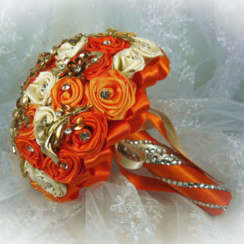 Оrange and Ivory Wedding Brooch Bouquet, Bridal Bouquet, Rose Bouquet, Silk Wedding Bouquet, Bridesmaid Bouquet, Brides Bouquet