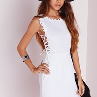 Missguided - Lace Up Scallop Shift Dress White