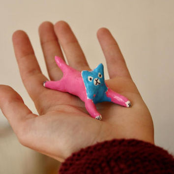 "Disco cat collection ""Lazy cat"" , painted clay sculpture"