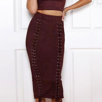 Burgundy Faux Suede High Waist Lace Up Front Split Back Skirt