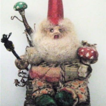 "OOAK Primitive Folk Art Storybook Gnome-""Gnome in Twig Chair Painting Mushroom""- Original Handcrafted Design with Paint Brush"