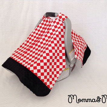 infant - baby - boy- Red Argyle and Midnight Black Minky Trimmed Carseat Cover -carseat canopy