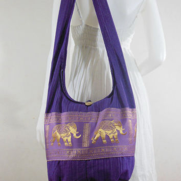 Mediumorchid Hill Tribe Elephants Cross body  bag,Shoulder bag,Hippie,Cotton, Boho Hobo , Messenger Bag,Purse E-HG02