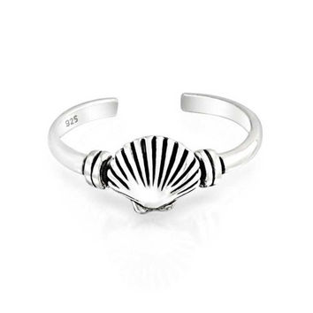 Bling Jewelry Nautical Clam Shell Midi Ring Sterling Silver Seashell Toe Rings