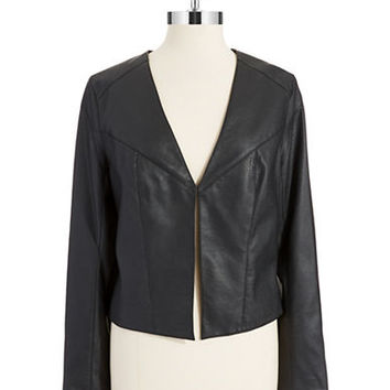 Marc New York Andrew Marc Faux Leather Open Front Jacket
