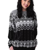 Adult Black and White Skeleton Ugly Halloween Sweater
