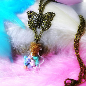 Lucky Origami Stars in a Bottle Necklace - Japanese Themed Jewelry - Amulet - Lucky Charm - Wishing Stars