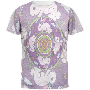 LMFCY8 Mandala Trippy Stained Glass Easter Bunny Mens T Shirt