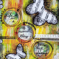 """Collage, Painting, Inspirational music quotes, Motivational image, Cool room decor, Life Quote, Mixed Media, giclee 12"""" x 16"""" or larger"""