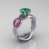 Modern Bridal 18K White Gold 10 CT Emerald Pink by artmasters