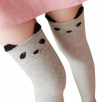 ESBONG6 Kim88 New Women Winter Cat Bear Panda Knitted Over Knee Long Boot Thigh-High Warm Socks