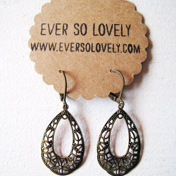 Pretty brown floral lace spiderweb teardrop chandelier earrings by EverSoLovely
