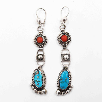 Vintage Navajo Sterling Silver Turquoise & Coral Pierced Earrings, Signed Glen Adakai, Long, Tiered, Dangle, Rare Beauties! #c442
