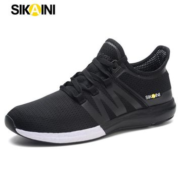 SIKAINI New Men's Running Shoes Jogging Sports Brand Sneakers Breathable Design Cotton Fabric Lace-up Black Classic Male Size