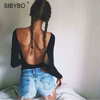 Sibybo Black Bodycon Lace Bodysuit Women Rompers 2017 Sexy Open Back Casual Combinaison Femme Button Closure Club Jumpsuits