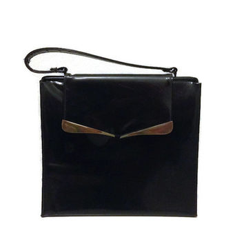 1950s Purse / Vintage Black Faux Patent Leather Handbag with Leather Lining, Creations by International