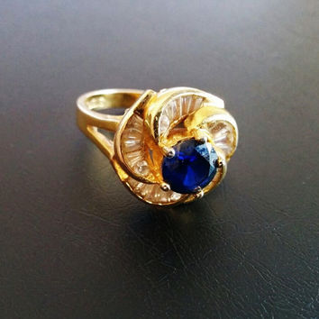 Vintage Engagement Ring 925 Sterling Silver Gold Washed Overlay Sapphire Blue Rhinestone