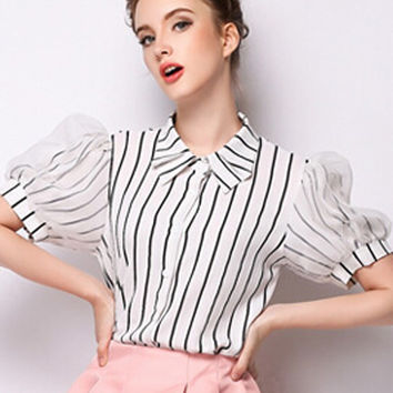 White Striped Puff Sleeve Pointed Collar Blouse