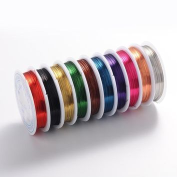 10Rolls 0.4mm Copper Jewelry Wire  Jewelry Findings Lead Free & Cadmium Free & Nickel Free, Mixed Color, 10m/roll