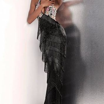 Jovani - 65384 Embellished Fringe Sheath Evening Dress