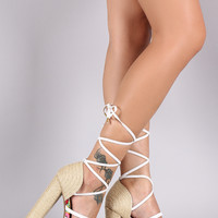 Qupid Strappy Lace-Up Platform Espadrille Heel