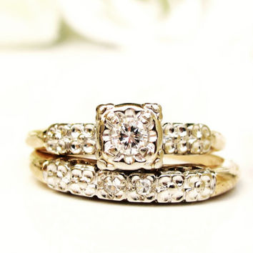 Art Deco Engagement Ring Set 0.15ctw Diamond Art Deco Bridal Set 14K Two Tone Gold Petite Diamond Orange Blossom Wedding Ring Set Size 5