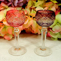 2 Bohemian Crystal Cordial Glasses Cut to Clear ~ Cranberry ~ Amethyst