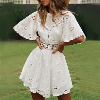 Sexy Backless Hollow Out White Dress Women Floral Embroidery Elegant A Line Mini Sundress Boho Flare Sleeve Dress