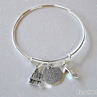 Live Your Dream Fairy Tale Bangle Bracelet with a Castle, Live Your Dream, and Slipper Charms