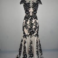 Mermaid Black Lace Appliques Prom Evening Dress