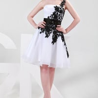 White and Black One Shoulder Lace Chiffon Prom Dress