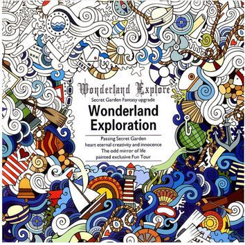 1 PCS 24 Pages English Version Wonderland Exploration Coloring Book For Adult Relieve Stress Graffiti Drawing Art Book