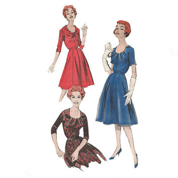 1950s Dress with Draped Neckline Butterick  8806 Bust 34 Vintage Sewing Pattern