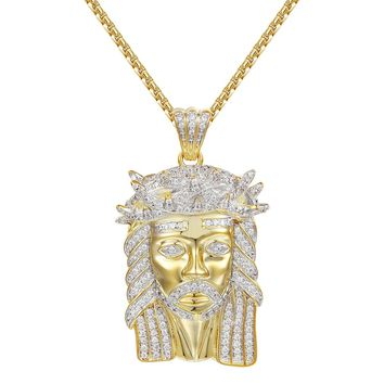 "14k Gold Finish Designer Jesus Head Charm Pendant 24"" Chain"