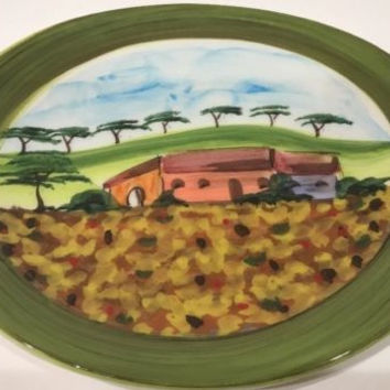 Vietri Vendemmia Yellow Sunflower Multi-Color Salad Plate Hand Painted in Italy