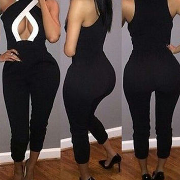 Sexy solid color bodycon Jumpsuits