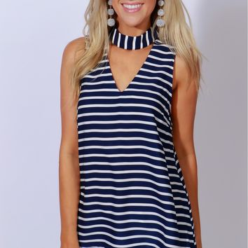 Multi-Task Stripe Tank Navy