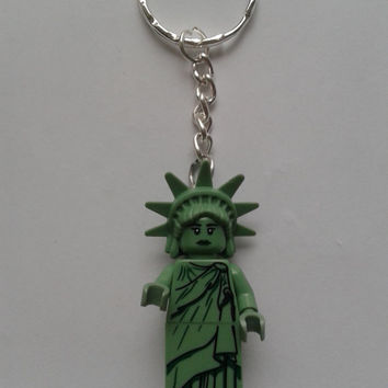 Lady Liberty  keychain keyring  made with LEGO®  series 6 minifigure