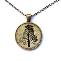 Tree necklace Nature pendant Vintage jewelry CWAO35-1