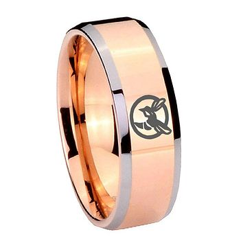 10mm Honey Bee Beveled Edges Rose Gold Tungsten Carbide Mens Anniversary Ring