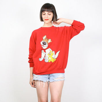 Vintage 80s Sweatshirt OLIVER and COMPANY Cartoon Jumper 1980s Disney Movie Pullover Red Cat Dog Kawaii Novelty Print T Shirt Top L Large