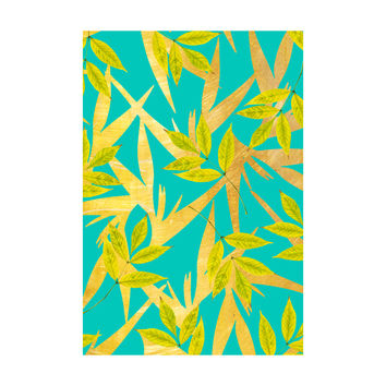 Gold and Teal Florals Adhesive Art Print