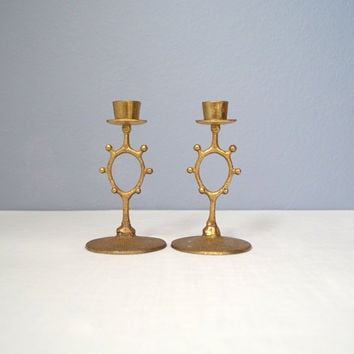 Two Vintage Brutalist Brass Candle Holders